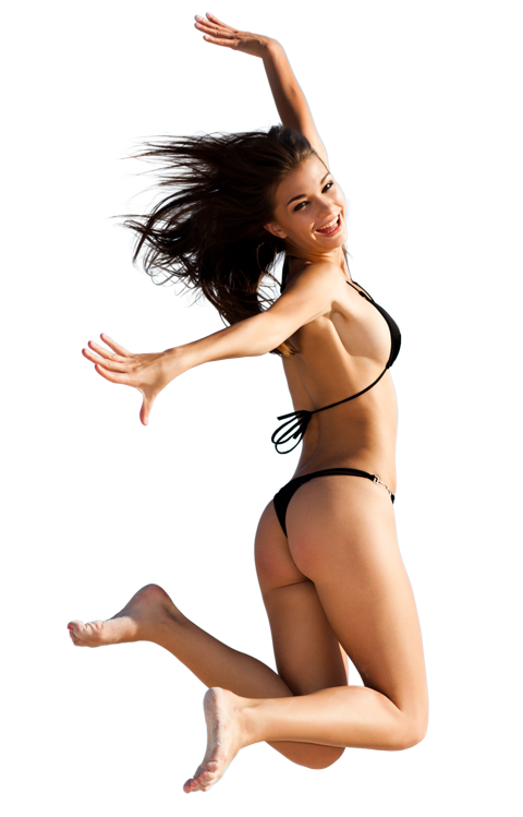 Jump for joy female model photoshop cut-out
